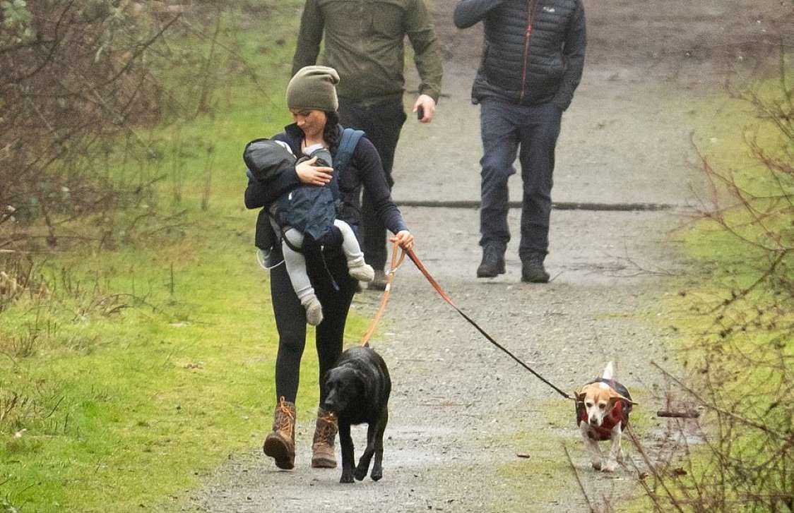 მეგან მარკლი თავის შვილთან და ძაღლებთან ერთად სეირნობს
